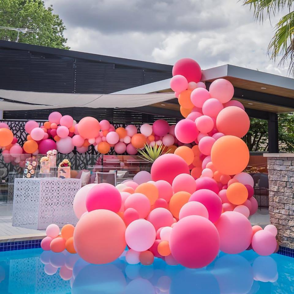 Custom Pool Birthday Balloon Setup